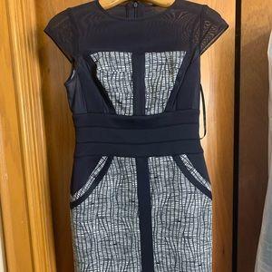 Caché Blue Patterned Formal Dress